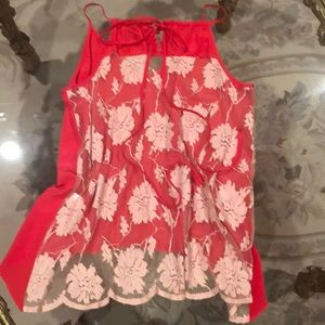 Mason Tops - Mason red silk blouse with lace back